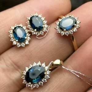 6.50Ct Oval Cut Sapphire Diamond Earring's ,Pendant & Ring 14k Yellow Gold Over