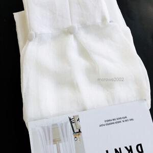 "DKNY City Gauze Pinch PLEAT 2 Window CURTAIN Panels Drapes Sheer - WHITE 32x108"""