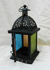 Square Traditional Moroccan Style Stained Glass Candle Lantern - BNIB
