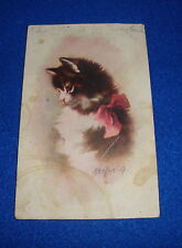 Artist Signed Kenyon Cat Postcard Titled Mischief Writing on Back