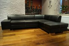 Rindsleder Ecksofa 100% Echt Leder + Kontrastnähten  Sofa Couch mit Bettfunktion
