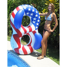 Americana DOUBLE RING FLOAT Patriotic Inflatable Swim POOL Lounge Fourth 90413
