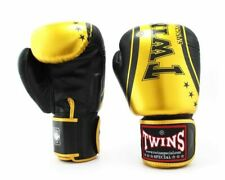 Twins Special Muay Thai MMA K1 Boxing Gloves USA STOCK Black/Gold 10 oz