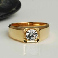 1 Ct Round D(Clear) Diamond Solitaire Men's Wedding Band 14K Yellow Gold Over