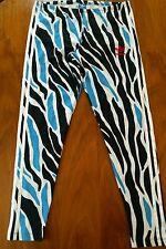Adidas Blue Black Geometric Animal Print Side Stripe Abstract Leggings Large EUC