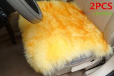 "2PCS Sheepskin Car Seat Covers Long Wool Chair cushion 18''×18"" GOLDYELLOW 2PCS"