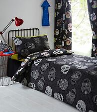 Sucre Têtes de mort 168cmx183cm Doublure Rideaux Noir Gris Argent blanc rouge