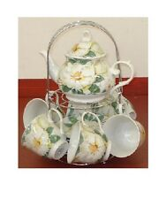 13 PC PORCELAIN WHITE MAGNOLIA FLOWER COFFEE TEA POT+MUG,CUP+SAUCER,STAND-BOX 66