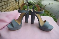 NEW Women Size 7 LC Lauren Conrad Bow Blue High Heel Platform Wedge Sandal Shoes