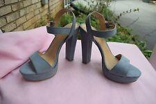 NEW Women Size Lauren Conrad Bow Blue 9.5 High Heel Platform Wedge Sandal Shoe