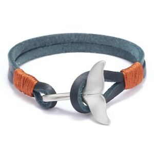 Whale Tail Bracelet Rope Leather Stainless Steel Wrap Bangle Men Jewelry 19.5cm