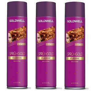3 x Goldwell SPRÜHGOLD CLASSIC HAARSPRAY 600 ml = 1800 ml , deutsche Produkte