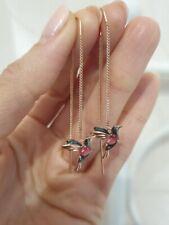 Earrings Rose gold plated Sterling Silver quartz earrings chain birdies pink