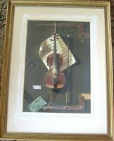 The Old Violin Picture iPrint 1958 William Michael Harnett Framed Heavy Canvas