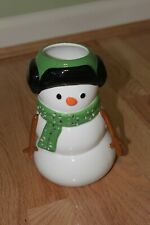 Slatkin & Co. Bath and Body Works Snowman Candle Holder Green hat with earmuffs