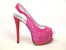 NEW Sparkly SATIN HOT PINK RHINESTONES Open Toe Platform Stiletto Heels Shoes 7