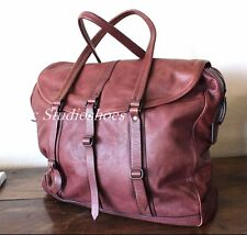 BURBERRY European Made Authentic Mens Leather Travel Tote Duffle Carryall Bag