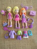 "Polly Pocket ""Colors of the Rainbow"" Purple Lot Big Feet Dolls Modern Pet 4-30"