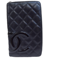 Authentic CHANEL CC Cambon Long Bifold Wallet Purse Patent Leather Black 65ER129