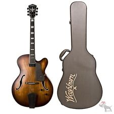 Washburn J600K Hollow Body Jazz Electric Guitar Hard Case Vintage Matte