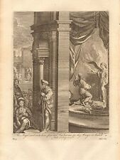 1770  ANTIQUE PRINT -BIBLE- THE ANGEL SAID UNTO HIM,FEAR NOT LACHARIA, FOR THY