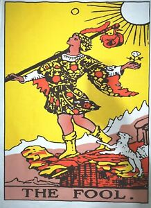 """Tarot Card """"THE FOOL"""" Tapestry Hanging 100% Cotton Fabric Wall Decoration"""