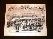 Torino 3 giugno 1879 Corse dei cavalli nella nuova Piazza d'Armi Piemonte