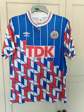 Ajax 1989 Away Football Shirt  LARGE RETRO BLUE RED WHITE BERGKAMP TDK