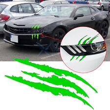 """12"""" Green Scratch Claw Beast Monster Vinyl Decal Eye Catching Headlight Sticker"""