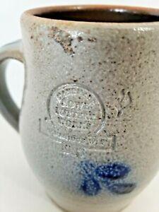 Rowe Pottery Covered Salt Glaze Heart Design Coffee Mug 1983 Cambridge Wisconsin