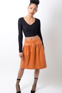 Womens Skirt Orange  PU Skater Midi Ladies Faux leather fabric High Waisted