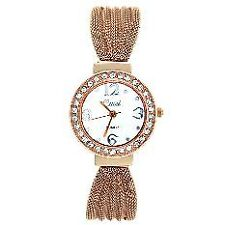 Cussi Women's Rose Gold Stainless Steel Diamond Frame Alloy Band  Strap Watch
