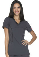 Scrubs Dickies Xtreme Stretch Women V-Neck Top DK715 PWT Pewter Free Shipping