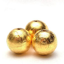 Natural Gibeon Iron Meteorite Round Gold Plated Bead Only One 12mm 7.5Grams