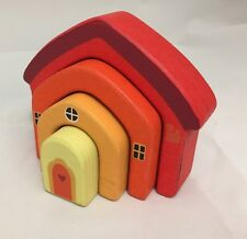 Wooden House Building Blocks Childrens Toy