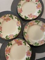 8 across Pink Rose Floral with Green Leaves Franciscan Desert Rose Salad Plate