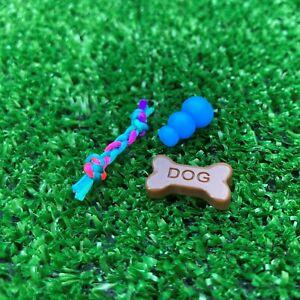 "Dollhouse Miniature Dog Bone w/ Rope Chew & Kong Toy Puppy 1"" scale 1:12"