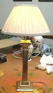 "VINTAGE BRASS CORINTHIAN COLUMN TABLE LAMP 19"" incl  Shade Working Order"