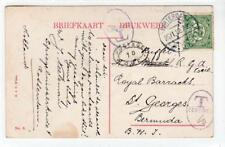 NETHERLANDS: 1912 Underpaid picture postcard to Bermuda (C36579)