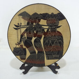 """Hand Line Carved & Painted ⌀12""""Wood Plate wall tabletop decor: Carry Water Girls"""
