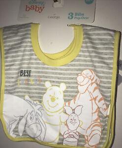 Disney Baby Set 3 Pull On Bibs~ Winnie The Pooh