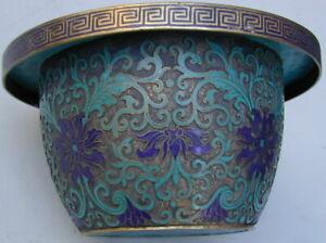 Lg. Old Original Bronze Cloisonne Oriental Flower Pot 1920's Very Rare