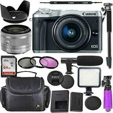 Canon EOS M6 Mirrorless Camera with Canon 15-45mm STM Lens + Accessory Bundle