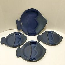 Vtg 4 Handmade Fish Platter Plates Shaped Hudson Valley Pottery Hand Painted Art