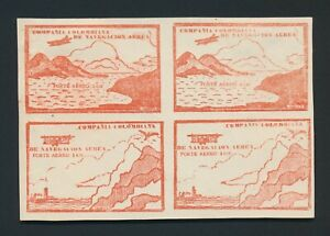 COLOMBIA STAMPS 1920 CCNA AIRMAIL ISSUE 10c VERMILION SHADE BLK 4 Sc #C11CK & M