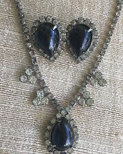 Rhinestone Black Cab Necklace with Matching Clip on Earrings Mid Century Estate