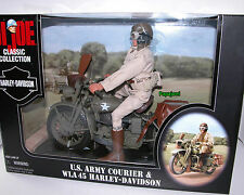 "GI JOE U.S. Army Courier HARLEY DAVIDSON WLA 45 12"" Figure Hasbro 1998 New"