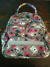 LUG Mini Puddle Jumper Tote Bag Purse - Gray & Pink Floral Fabric