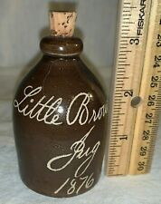 ANTIQUE 1876 MINI LITTLE BROWN JUG ALBANY SLIP SCRATCH STONEWARE EXAMPLE 5 OF 7