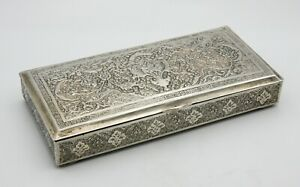 Solid silver antique Persian middle eastern engraved box floral design 348 g